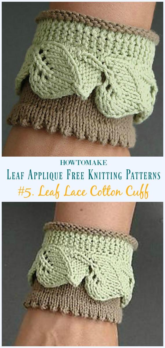 Folha Renda Algodão Cuff Knitting Padrão Grátis- #Leaf;  Applique Free #Knitting;  Padrões