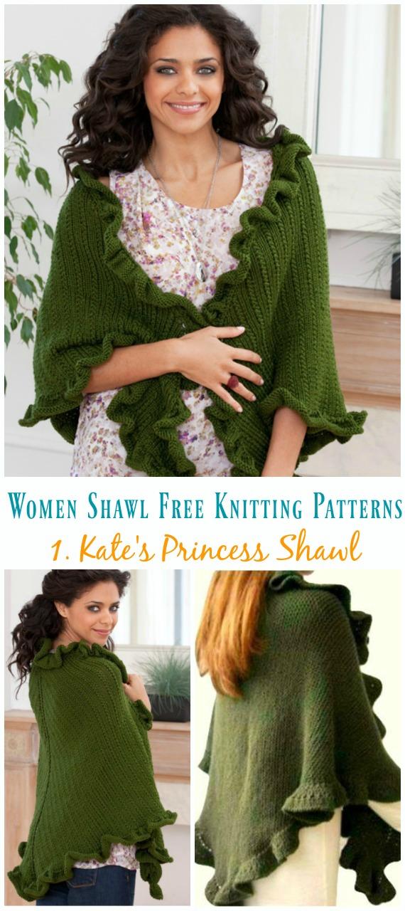 Padrão Grátis de Tricô Princesa de Kate - Mulheres #Shawl;  #Knitting grátis;  Padrões