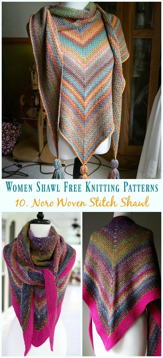 Noro Woven Stitch Xaile tricô Padrão Grátis - Mulheres #Shawl;  #Knitting grátis;  Padrões