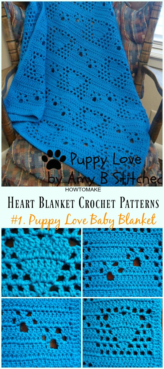 HowtoMakes Crochet Heart Baby Blanket Free Patterns 01