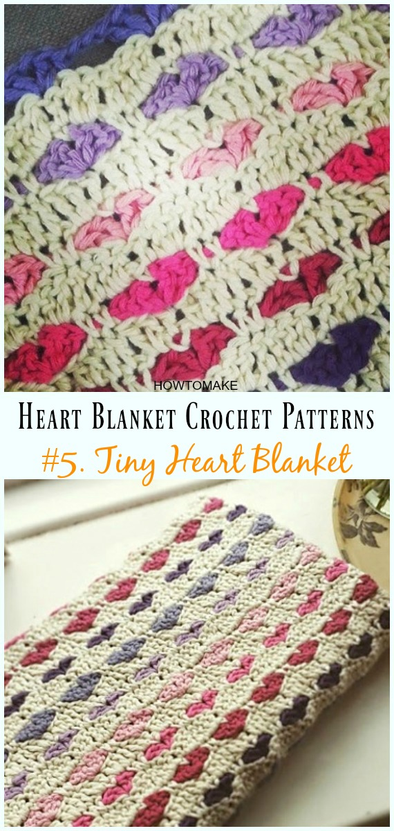 HowtoMakes Crochet Heart Baby Blanket Free Patterns 05