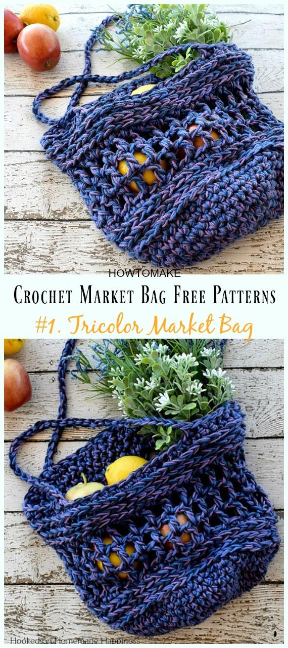 Tricolor Market Bag Crochet Free Pattern - #Crochet;  Mercearia do mercado #Bag; padrões gratuitos