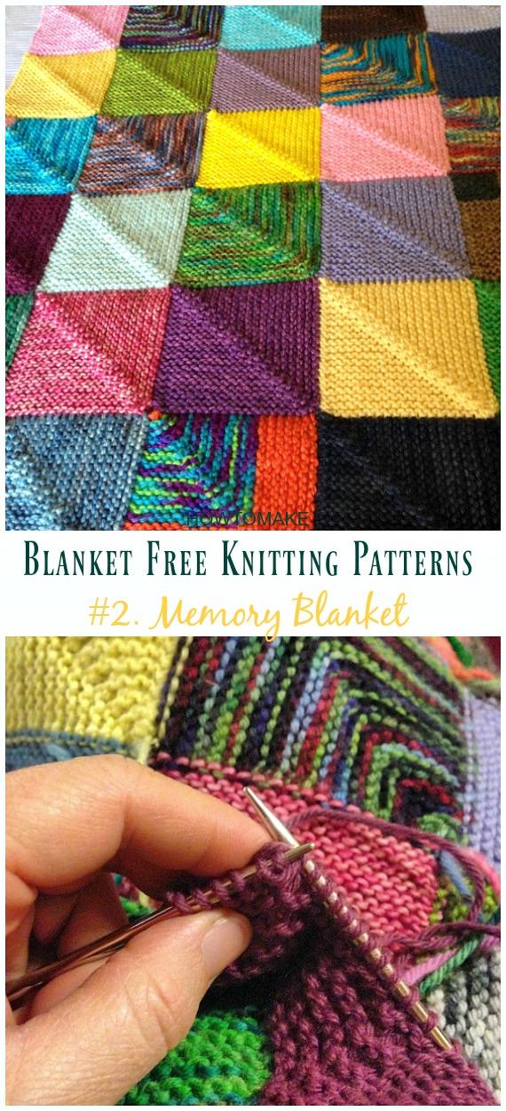 Memory Blanket Knitting Free Pattern - Fácil #Blanket;  #Knitting grátis;  Padrões