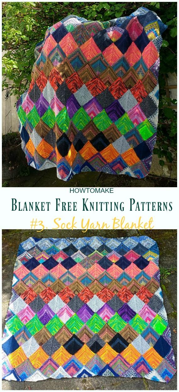 Sock Yarn Blanket Knitting Pattern Free - Fácil #Blanket;  #Knitting grátis;  Padrões