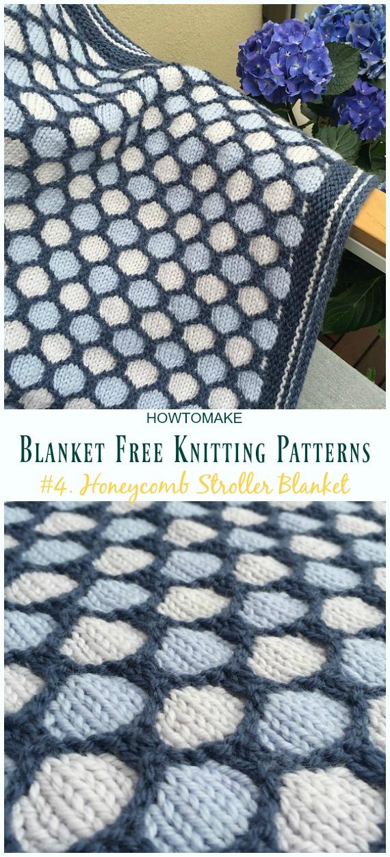 Honeycomb Stroller Blanket tricô padrão grátis - Fácil #Blanket;  #Knitting grátis;  Padrões