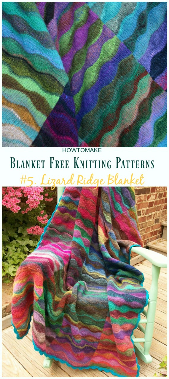 Lizard Ridge Blanket Tricô Padrão Grátis - Fácil #Blanket;  #Knitting grátis;  Padrões