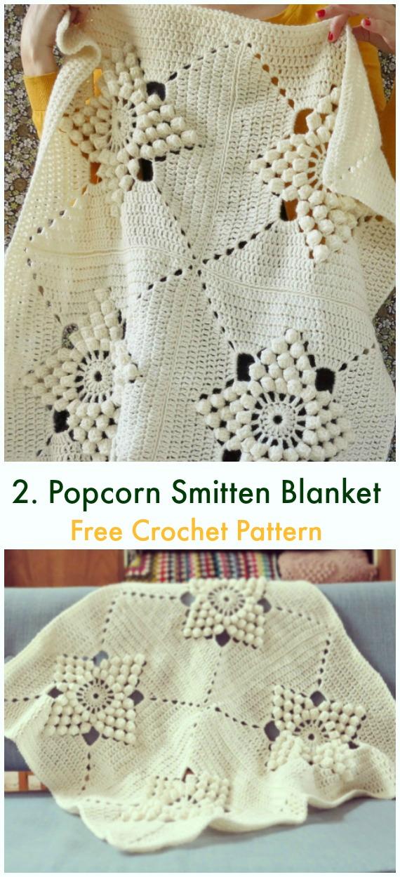 Popcorn Smitten Blanket Kostenlose Häkelanleitung – Bommel & Popcorn #Decke;  Kostenlose #Häkeln;  Muster
