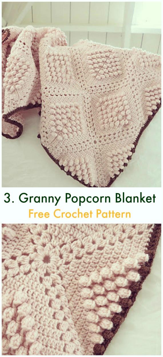 Oma-Quadrat-Popcorn-Decke Kostenlose Häkelanleitung – Bommel & Popcorn #Decke;  Kostenlose #Häkeln;  Muster