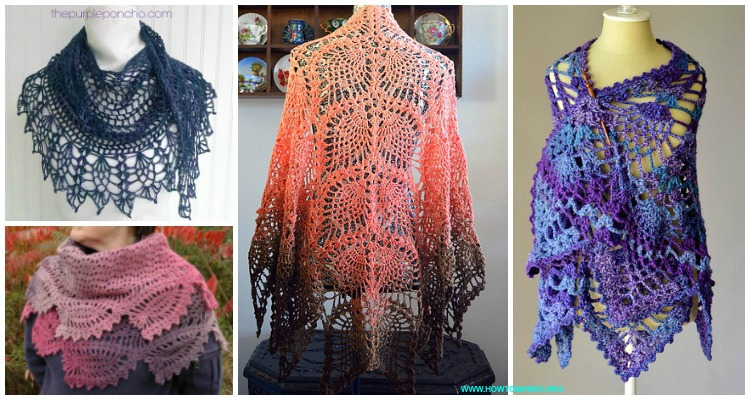 Crochet Pineapple Shawl Free Patterns & Tutorials