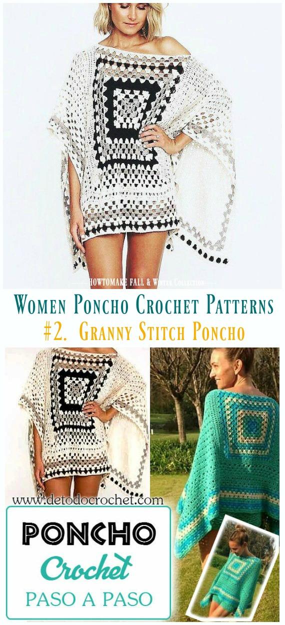 Fall Winter Women Poncho Free Crochet Patterns Paid