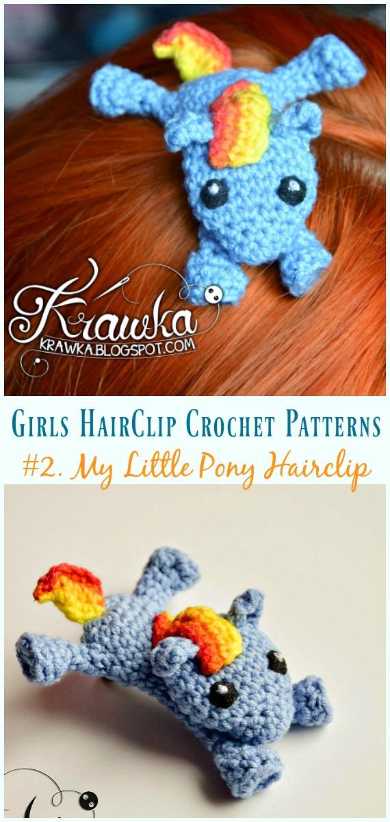 Crochê My Little Pony Hairclip Free Pattern - Meninas #HairClip;  Acessórios Grátis #Crochet;  Padrões