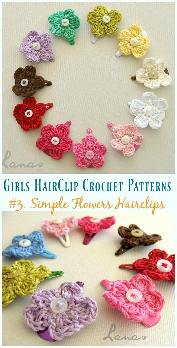 Crochê Flores Simples Hairclip Padrão Grátis - Meninas #HairClip;  Acessórios Grátis #Crochet;  Padrões
