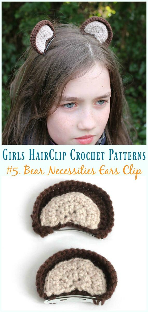 Crochê Urso Necessidades Orelhas Clip Padrão Grátis - Meninas #HairClip;  Acessórios Grátis #Crochet;  Padrões