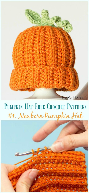 Chapéu de abóbora recém-nascido de crochê padrão - #Pumpkin;  #Chapéu;  Grátis #Crochet;  Padrões