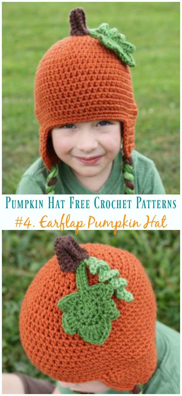 Protetor de orelha Chapéu Abóbora Chapéu Crochê Padrão Grátis - #Pumpkin;  #Chapéu;  Grátis #Crochet;  Padrões