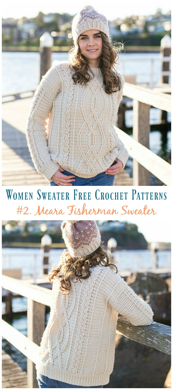 Meara Fisherman Cabled Sweater Crochet Free Pattern - Fall Winter ...