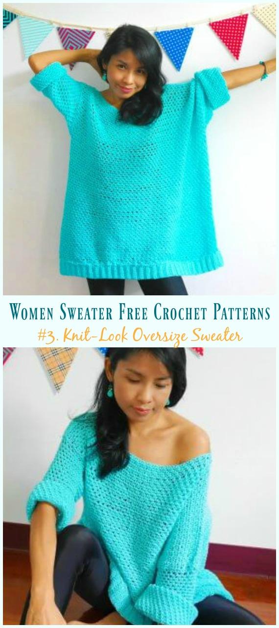 Tricô-Look Suéter Oversize Padrão Sem Crochê - Outono Inverno Mulheres #Sweater;  Grátis #Crochet;  Padrão