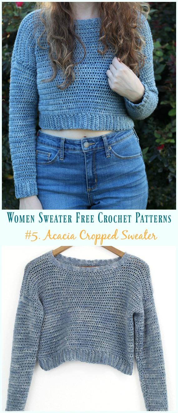 Acacia Cropped Sweater Crochet Free Pattern - Herbst-Winter-Frauen #Sweater;  Kostenlose #Häkeln;  Muster