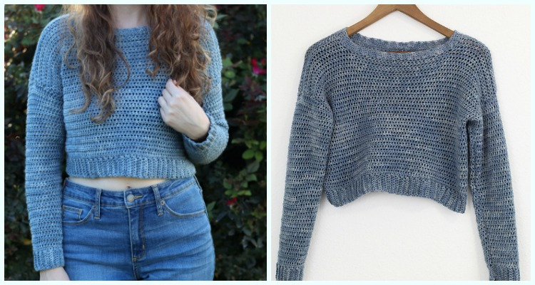 f997be283 Acacia Cropped Sweater Crochet Free Pattern- Crochet Women Sweater