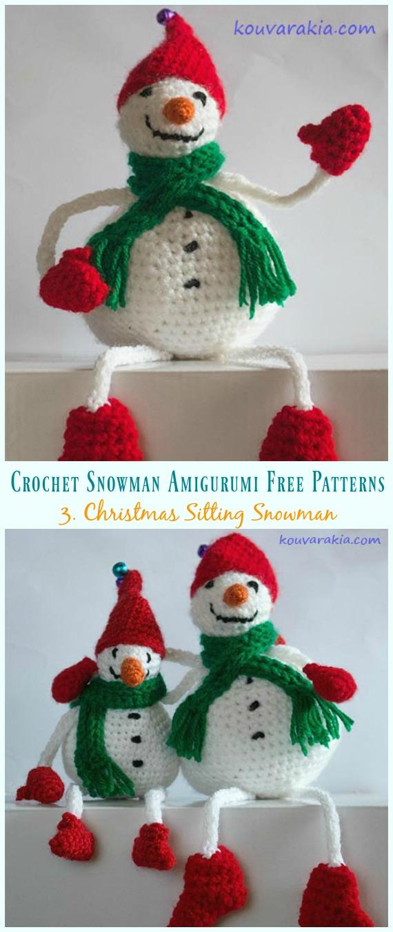 Amigurumi Weihnachtssitzender Schneemann Kostenlose Häkelanleitung - Häkeln #Schneemann;# Amigurumi;  Kostenlose Muster