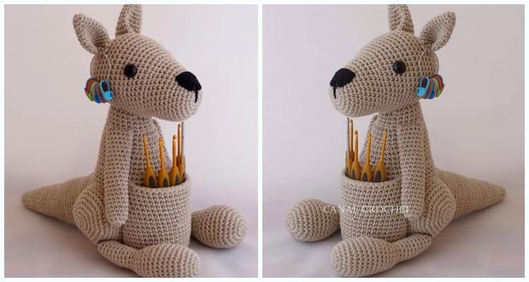 Amigurumi Kangaroo Hook Holder Crochet Free Pattern