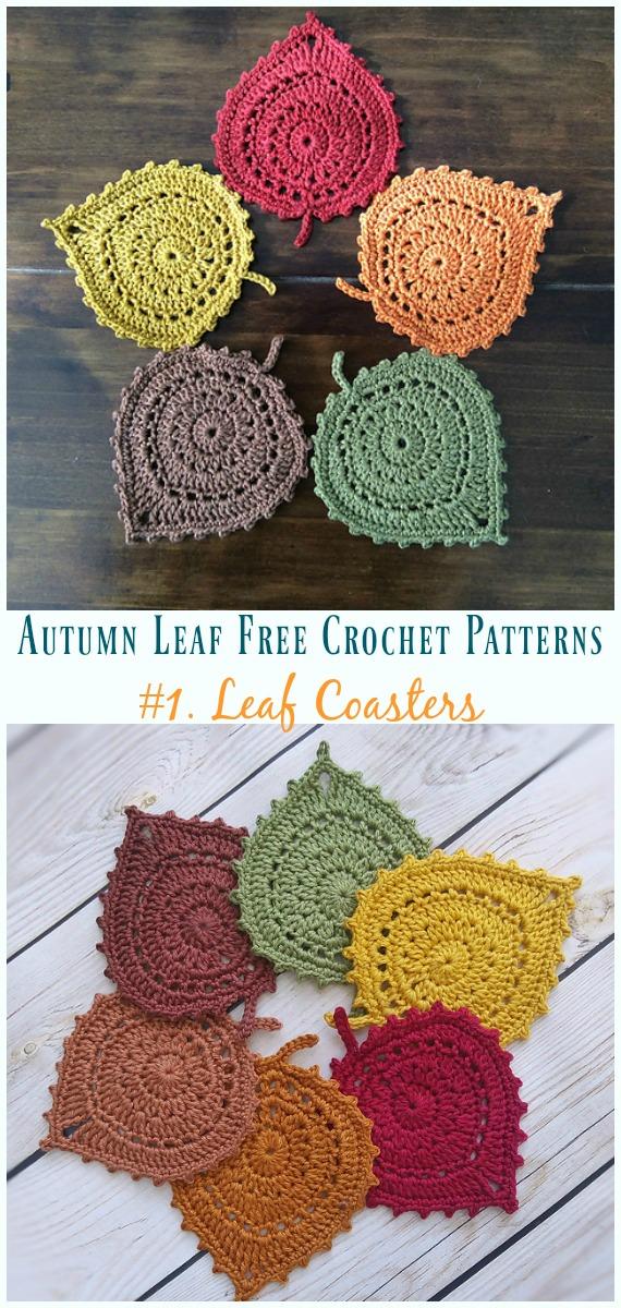 Folha Coasters Crochet Free Pattern - Outono #Leaf;  Grátis #Crochet;  Padrões
