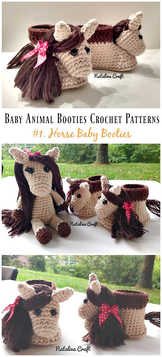 Horse Baby Booties Crochet Free Pattern - Baby Animal #Booties;  Kostenlose #Häkeln;  Muster