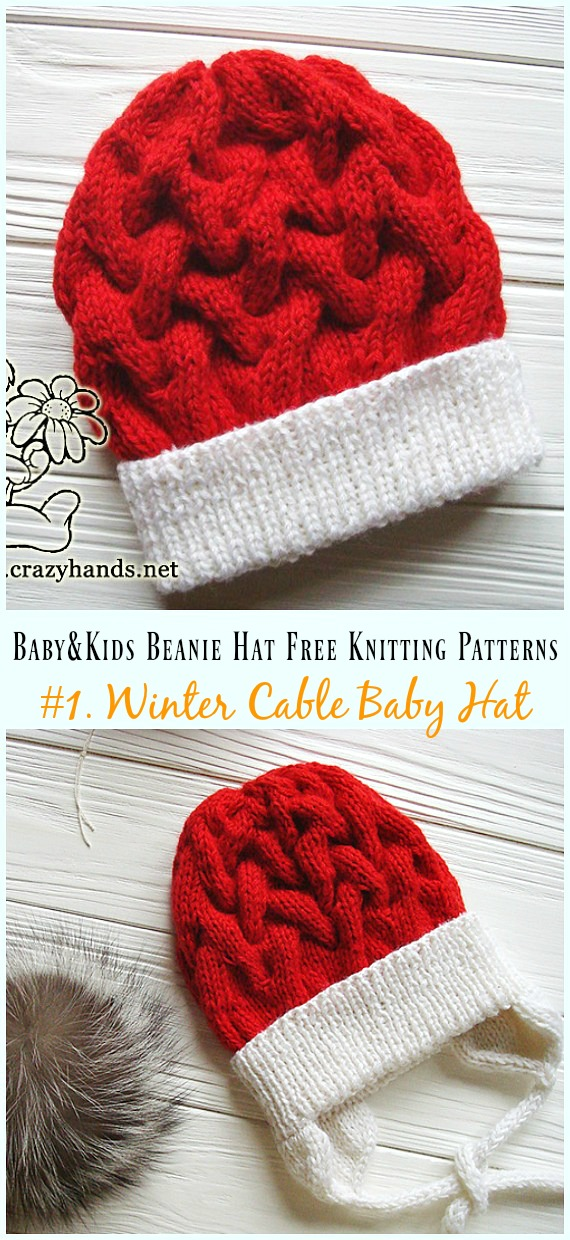 Winter Cable Baby Hat Knitting Free Pattern - Baby & Kids Beanie #Hat;  Ücretsiz # Örme;  Desenler