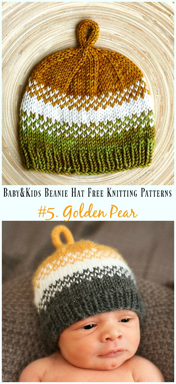 Baby Kids Beanie Hat Free Knitting Patterns