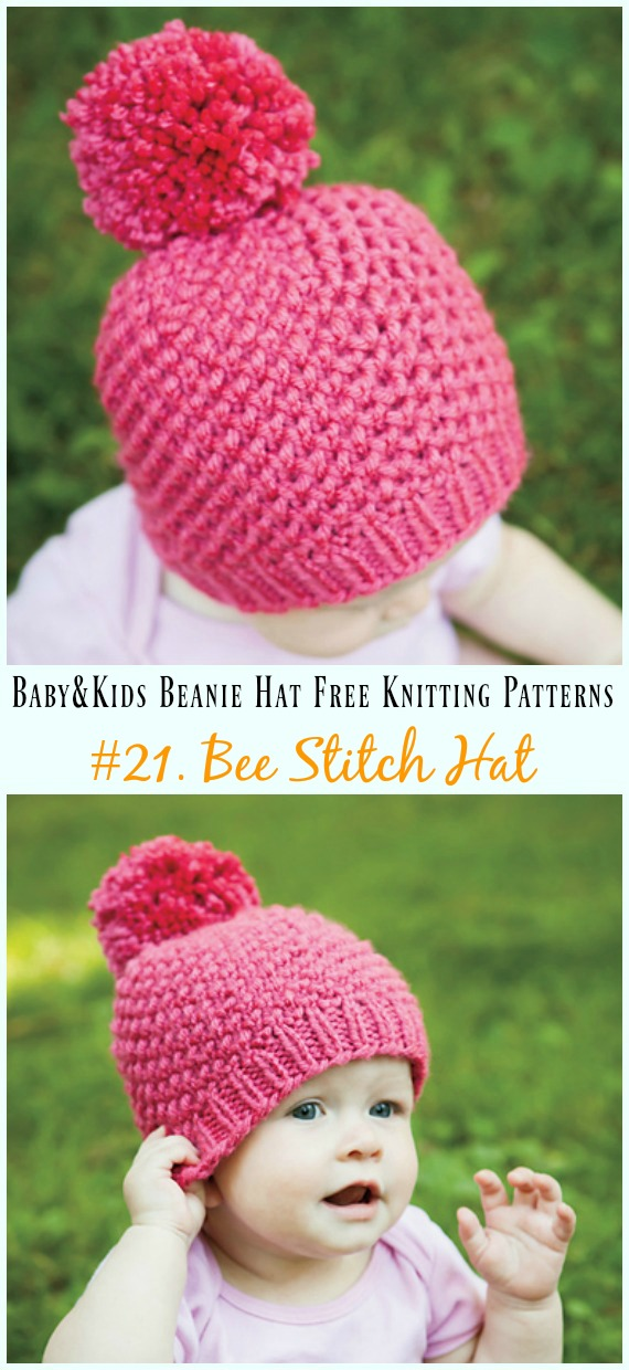 Bee Stitch Hat Knitting Free Pattern - Baby   Kids Beanie  Hat  Free   566b2a9b2ef