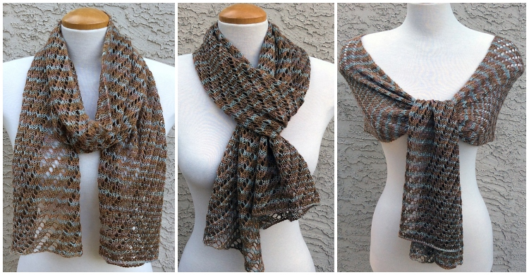 Diagonal Copper Lines Scarf Free Knitting Pattern