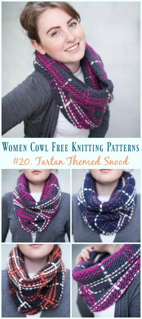 Padrão livre de tricô com tema Tartan Snood - Mulheres sem capuz #Padrões de tricô