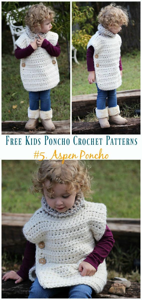 Aspen Poncho Sweater Free Crochet Pattern - Free Kids #Poncho;  #Häkelanleitungen