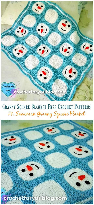Snowman Granny Square Blanket Crochet Free Pattern