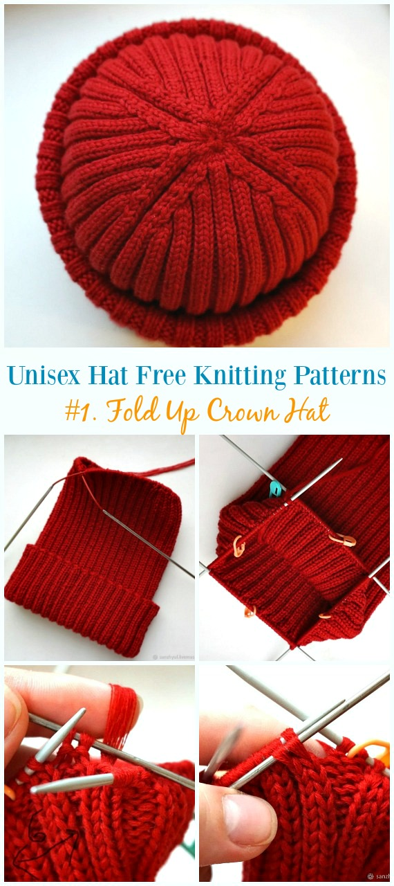 Fold Up Crown Hat Knitting Free Pattern Unisex Adult Hat