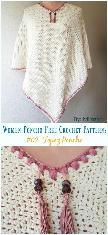 Topaz Poncho Crochet Free Pattern - Women Poncho Free
