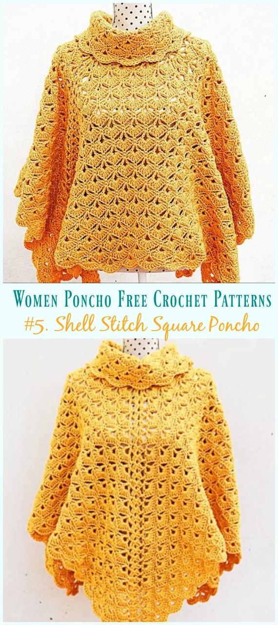 Shell Stitch Square Poncho Crochet Free Pattern Video - Frauen #Poncho;  Kostenlose #Häkeln;  Muster