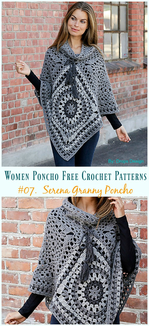 Women Poncho Free Crochet Patterns