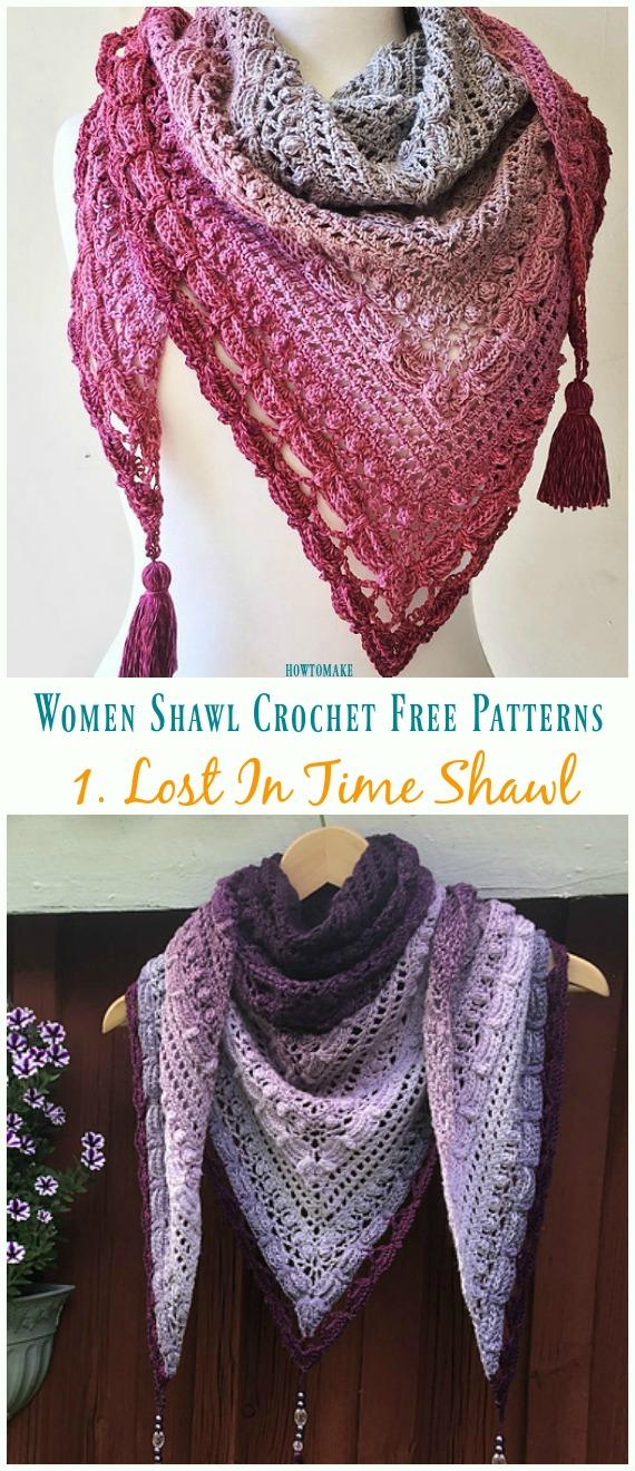 Lost In Time Shawl Crochet Free Pattern - Trendy Women #Shawl; Free #Crochet; Patterns