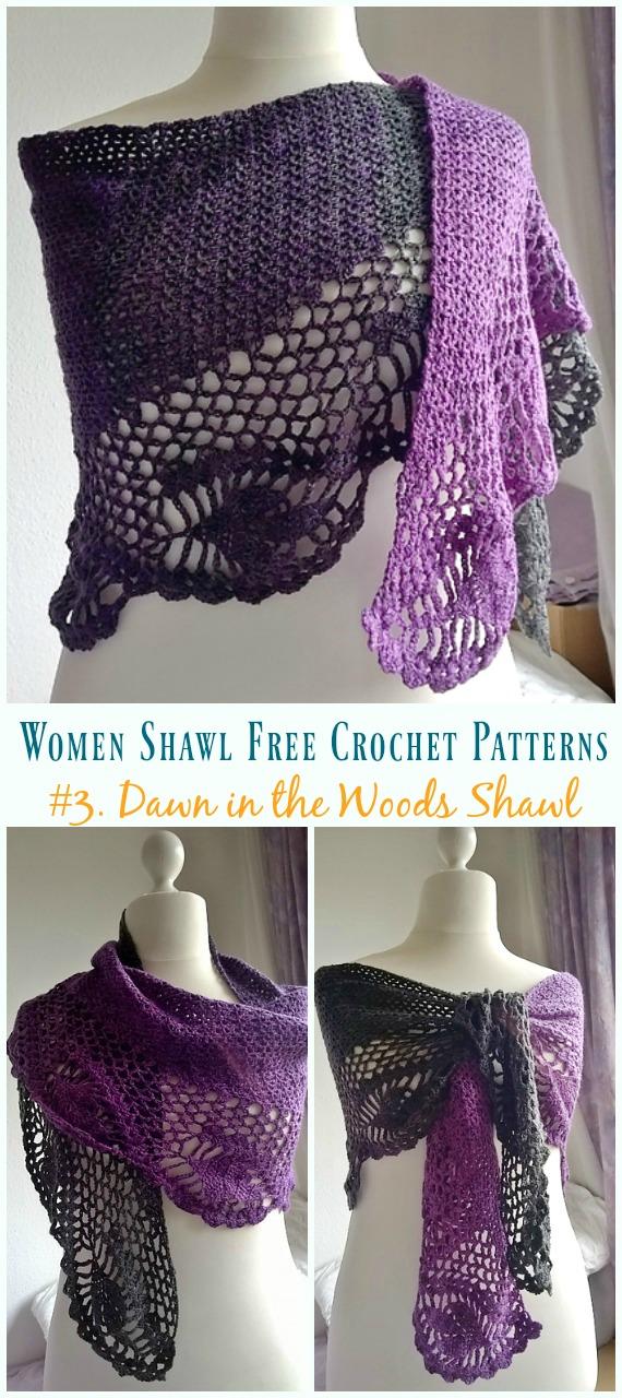 Dawn in the Woods Shawl Crochet Free Pattern – Trendy Women #Shawl;  Kostenlose #Häkeln;  Muster