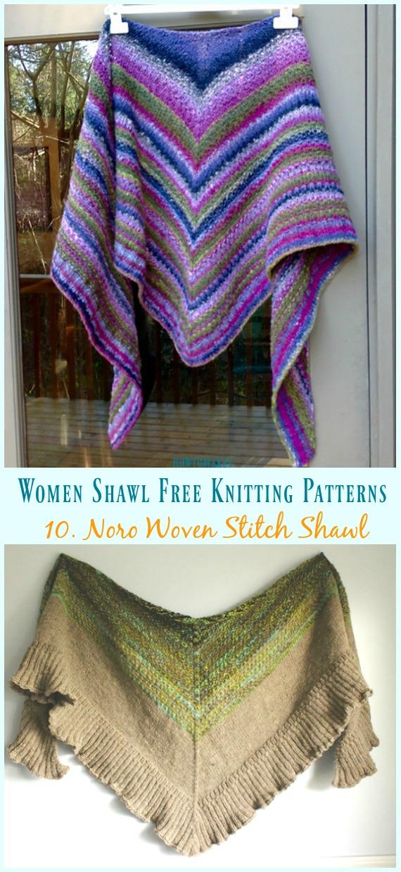 Noro Woven Stitch Xale tricô Padrão Grátis - Mulheres #Shawl;  #Knitting grátis;  Padrões