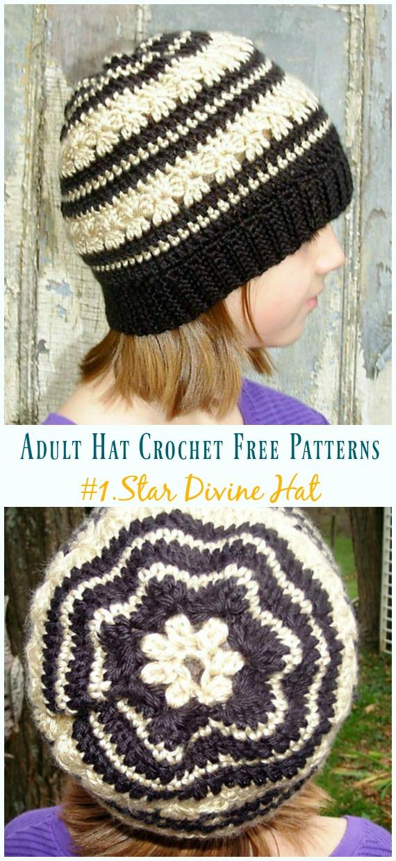 Star Divine Hat Crochet Free Patterns - Adult #Hut;  #Häkeln;  Kostenlose Muster