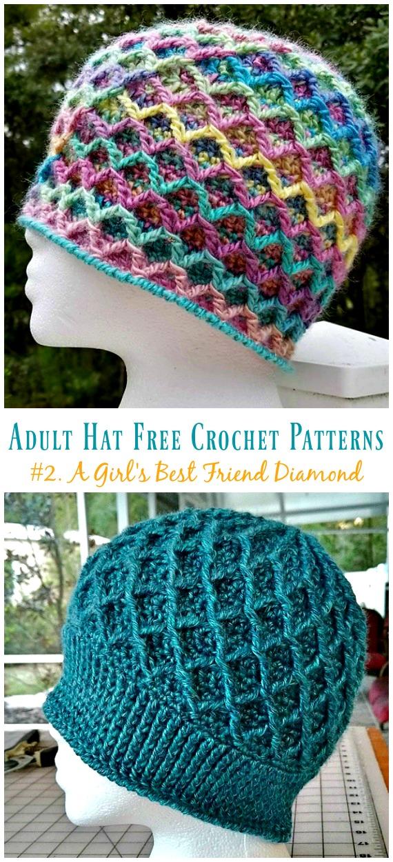 Der beste Freund eines Mädchens Diamond Hat Crochet Free Patterns - Adult #Hut;  #Häkeln;  Kostenlose Muster