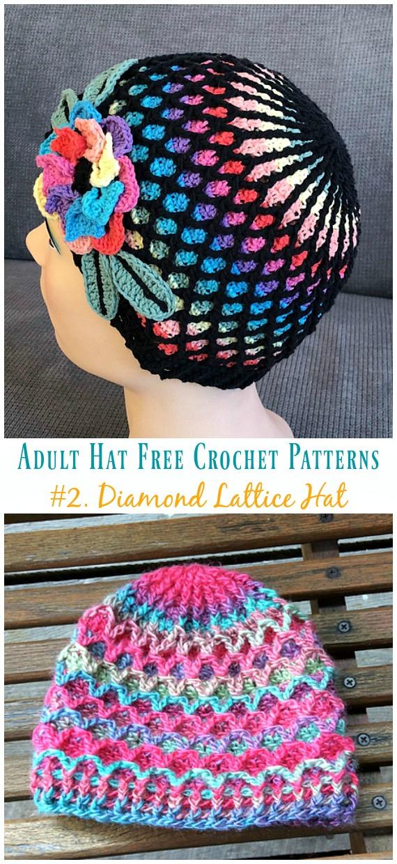 Diamond Lattice Hat Crochet Free Patterns - Adult #Hut;  #Häkeln;  Kostenlose Muster