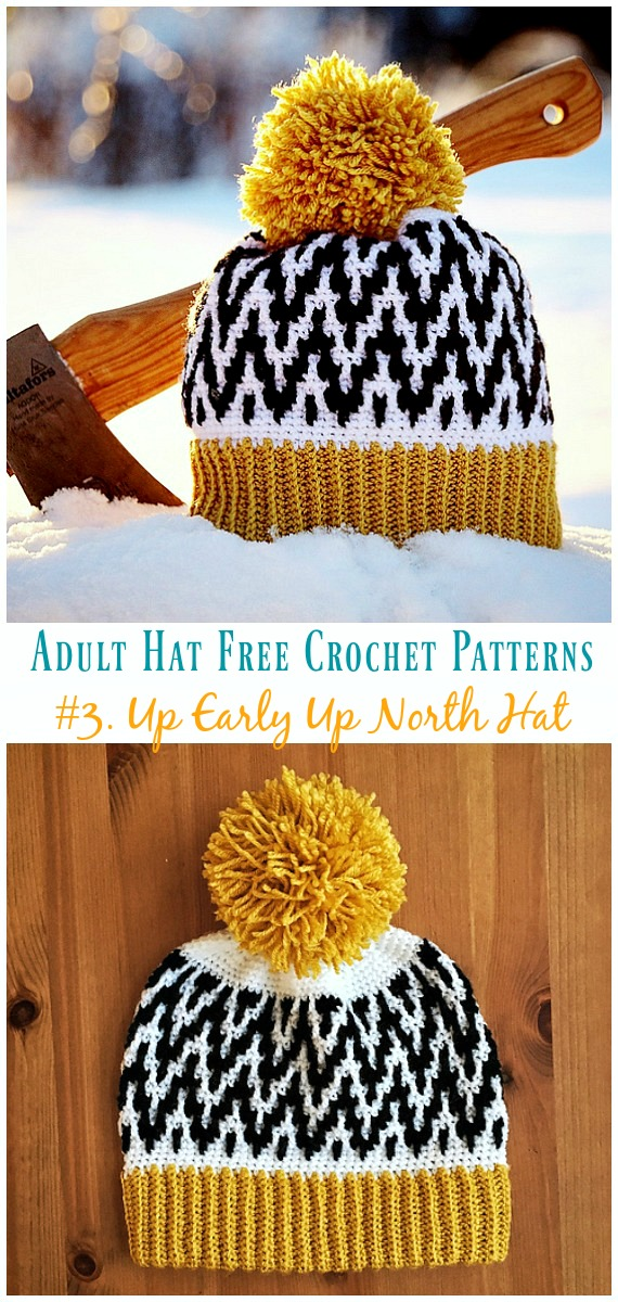 Up Early Up North Hat Free Crochet Pattern Adult Hat