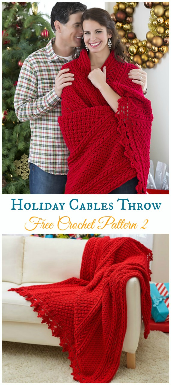 Holiday Cables Throw Free Crochet Pattern - Holiday #Throw;  Decke frei #Häkeln;  Muster