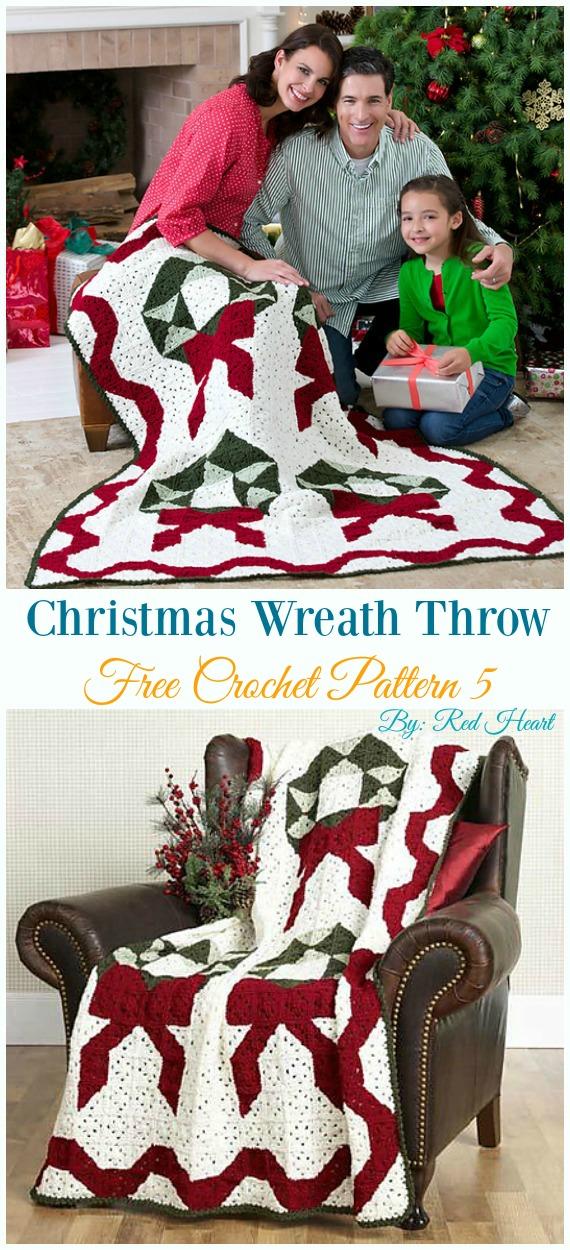 Weihnachtskranz werfen kostenlose Häkelanleitung - Urlaub #Wurfen;  Decke frei #Häkeln;  Muster