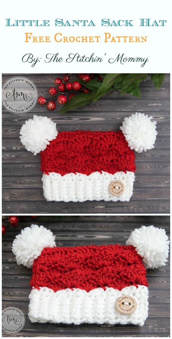 Little Santa Sack Hat Crochet Free Pattern - Sack #Hut;  Kostenlose #Häkeln;  Muster