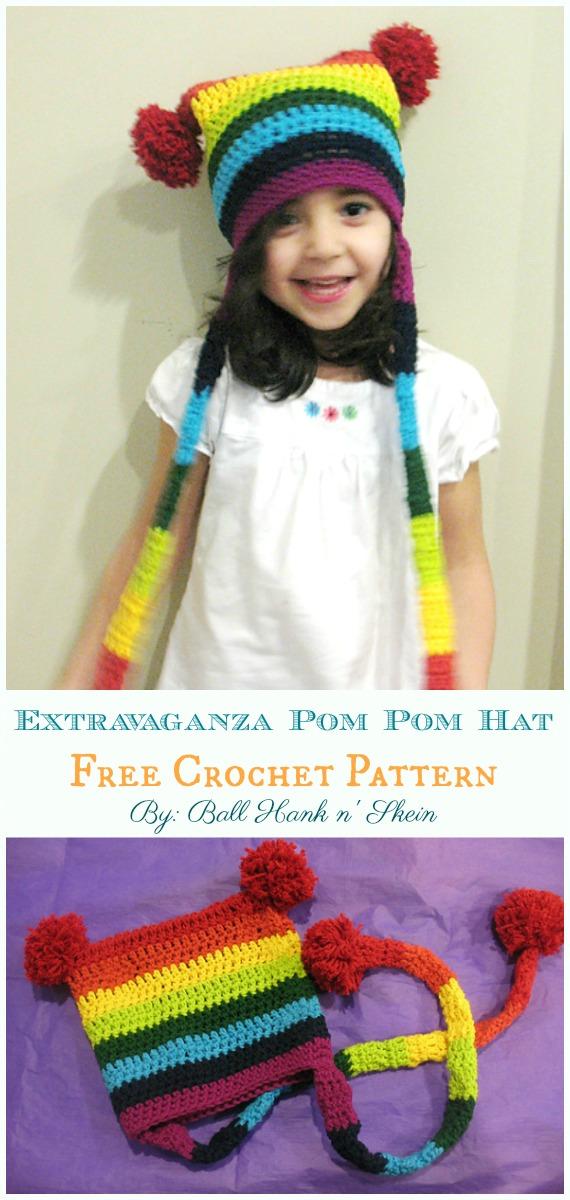 Rainbow Extravaganza Pom Pom Hat Häkelanleitung – Sack #Hut;  Kostenlose #Häkeln;  Muster