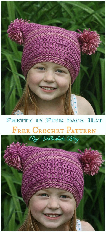 Pretty in Pink Sack Hat Crochet Free Pattern - Sack #Hut;  Kostenlose #Häkeln;  Muster